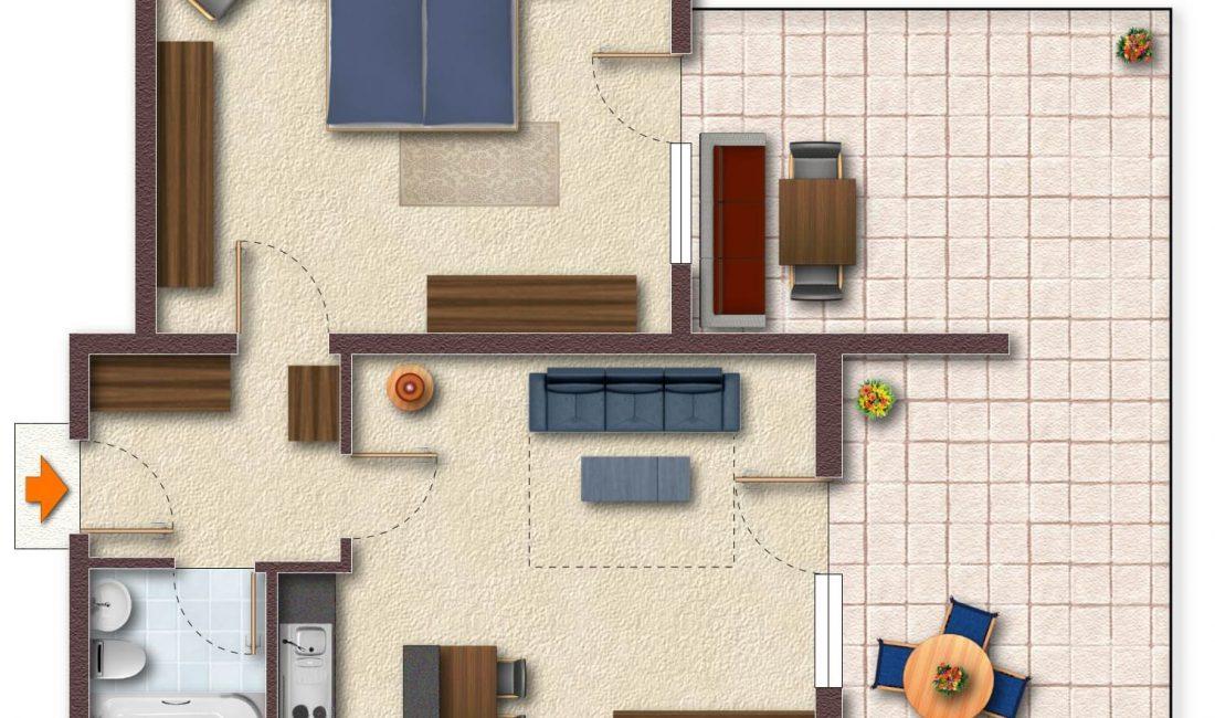 Grundriss der Ferienwohnung Hausberg möbliert